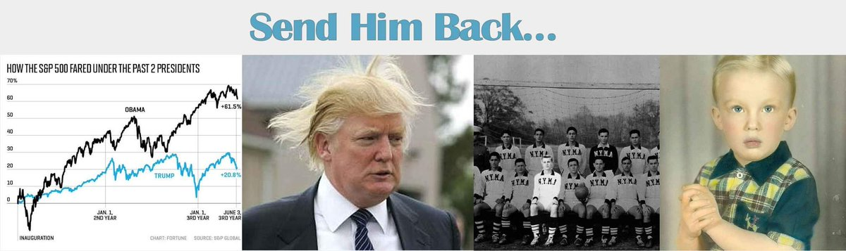 """Since we can't send him back to his childhood where he might grow up differently and be a rational caring adult, let's """"SEND HIM BACK"""" to the public sector and his fictional business success and other failures.  #trump #SendHimBack"""