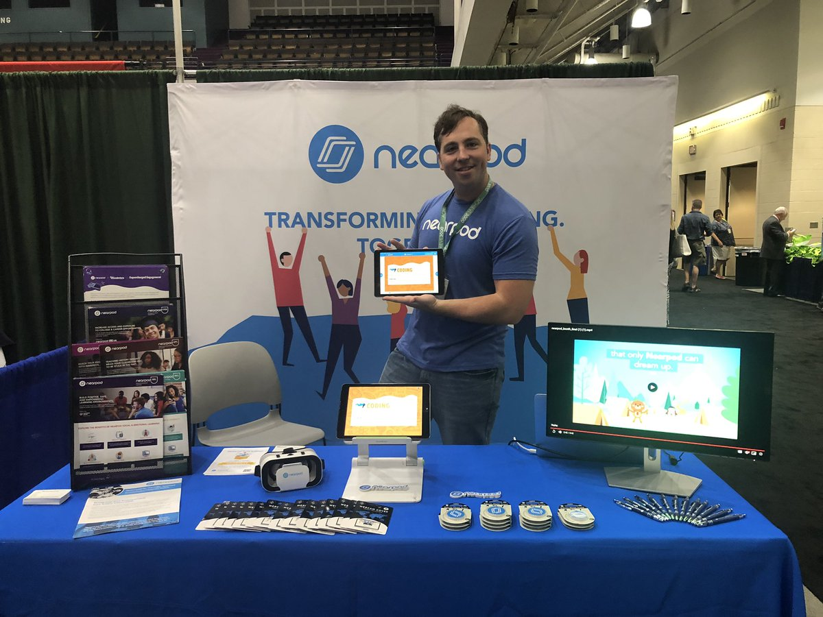 Come visit @Nearpod & @Flocabulary at #npc19! Enter to win a box set of VR headsets!