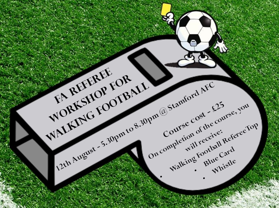 NEWS | Our #WalkingFootball Referee Workshop will allow you to develop the key skills and knowledge to enable you to #referee walking football safely and effectively    More   https:// bit.ly/2LsDfF3     <br>http://pic.twitter.com/XtlswWglZK