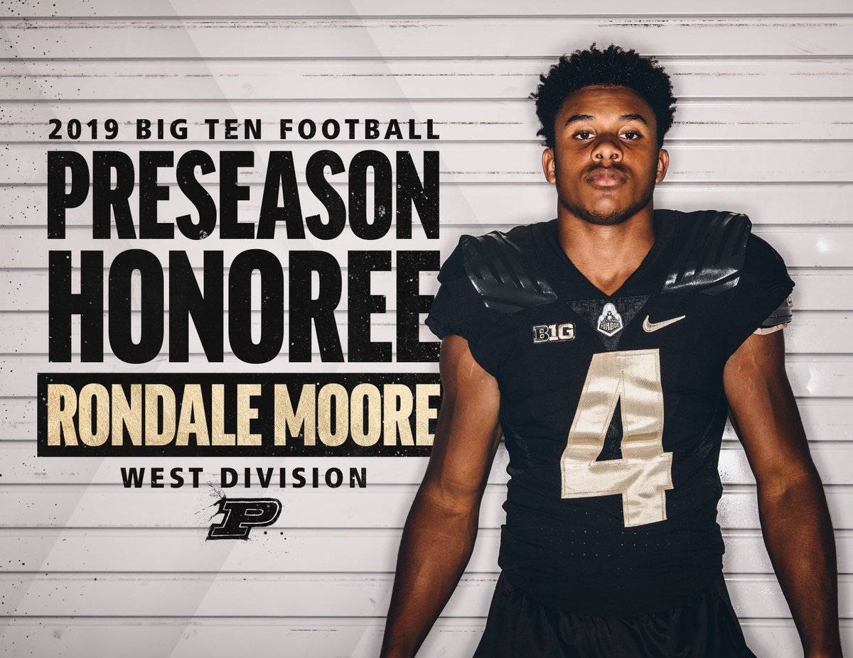 .@moore_rondale is 1️⃣ of 1️⃣0️⃣ players across the conference recognized with preseason @B1Gfootball honors ‼️ 💯  #BoilerUp #LetsPlayFootball