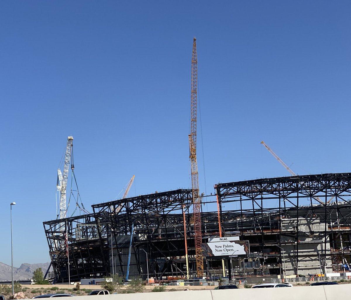 Elevators have been installed in the @LasVegasStadium and escalators are on site and mostly near their proposed locations ready to be installed. #vegas #raiders #stadium