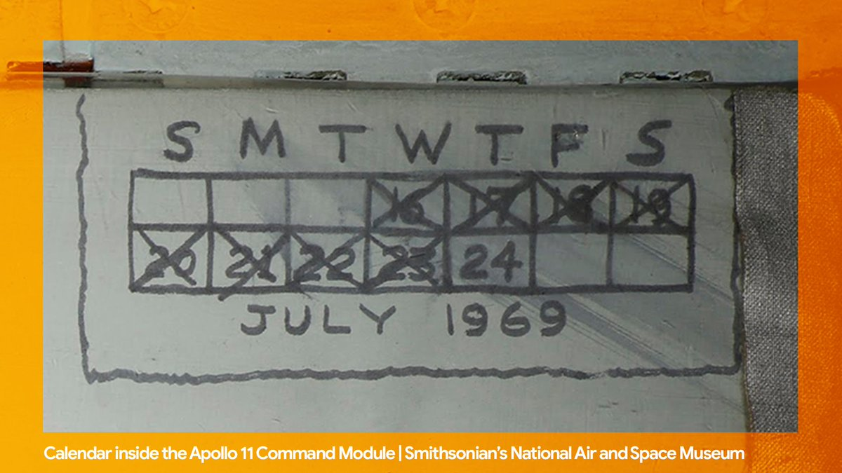 In 1969, astronauts kept track of how long the Apollo 11 mission was with a hand-drawn calendar on the wall of the space capsule. Learn more about this astro-graffiti and other #Apollo50th facts in @googlearts → http://goo.gle/2XQ7Djf