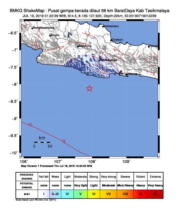 Pusat Gempa di Tasikmalaya, Jawa Barat, Jumat (19/7/2019) dinihari WIB