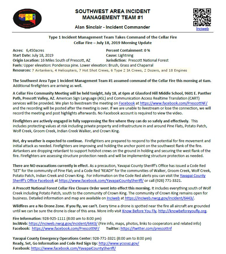 #CellarFire AM Update, July 18,2019 - Type 1 Incident Management Team Takes Command of the Cellar Fire https://go.usa.gov/xypbm