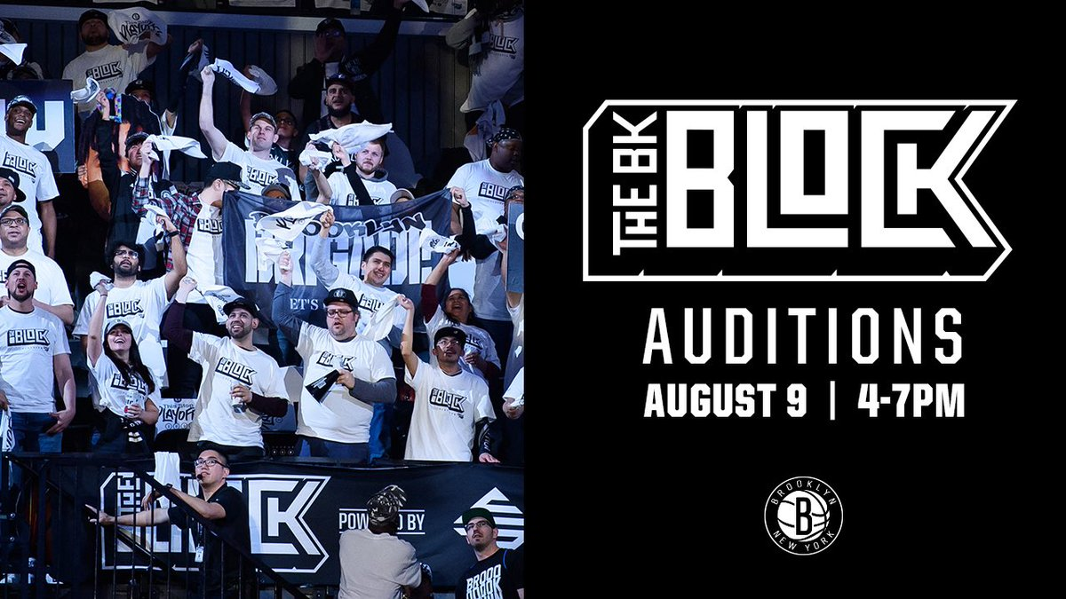 ⚫️⚪️ The BK Block needs you ⚪️⚫️  If you are the most spirited, lively and energetic Brooklyn Nets fan there is, then come out to BK Block Auditions, powered by @ecpowergas!   Hurry, spots are limited.  🔗: http://nba.com/nets/tickets/2019-20/thebkblock …