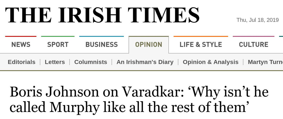 Yeah, the Irish are definitely going to roll over and accept the removal of the backstop. https://www.irishtimes.com/opinion/boris-johnson-on-varadkar-why-isn-t-he-called-murphy-like-all-the-rest-of-them-1.3960638#.XTCbh5tYA6k.twitter…
