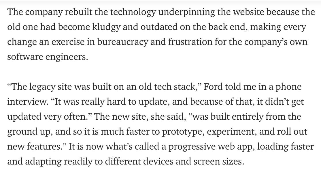 It turns out the redesign was less about how *we* use Twitter, and more about how *Twitter* uses Twitter. The biggest changes were under the hood, w/ the goal of making it faster & easier to test and ship new features at a company that has often suffered from product stagnation.