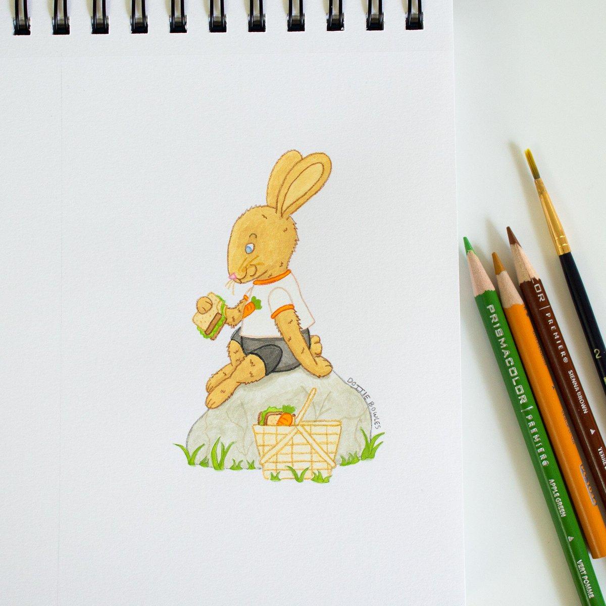 """7 Days of Yum"" Instagram art challenge Day 3: ""Veggie Goodness"" This bunny packed himself a picnic full of veggie sandwiches! #gouache #artph<br>http://pic.twitter.com/55Lj09w4xn"