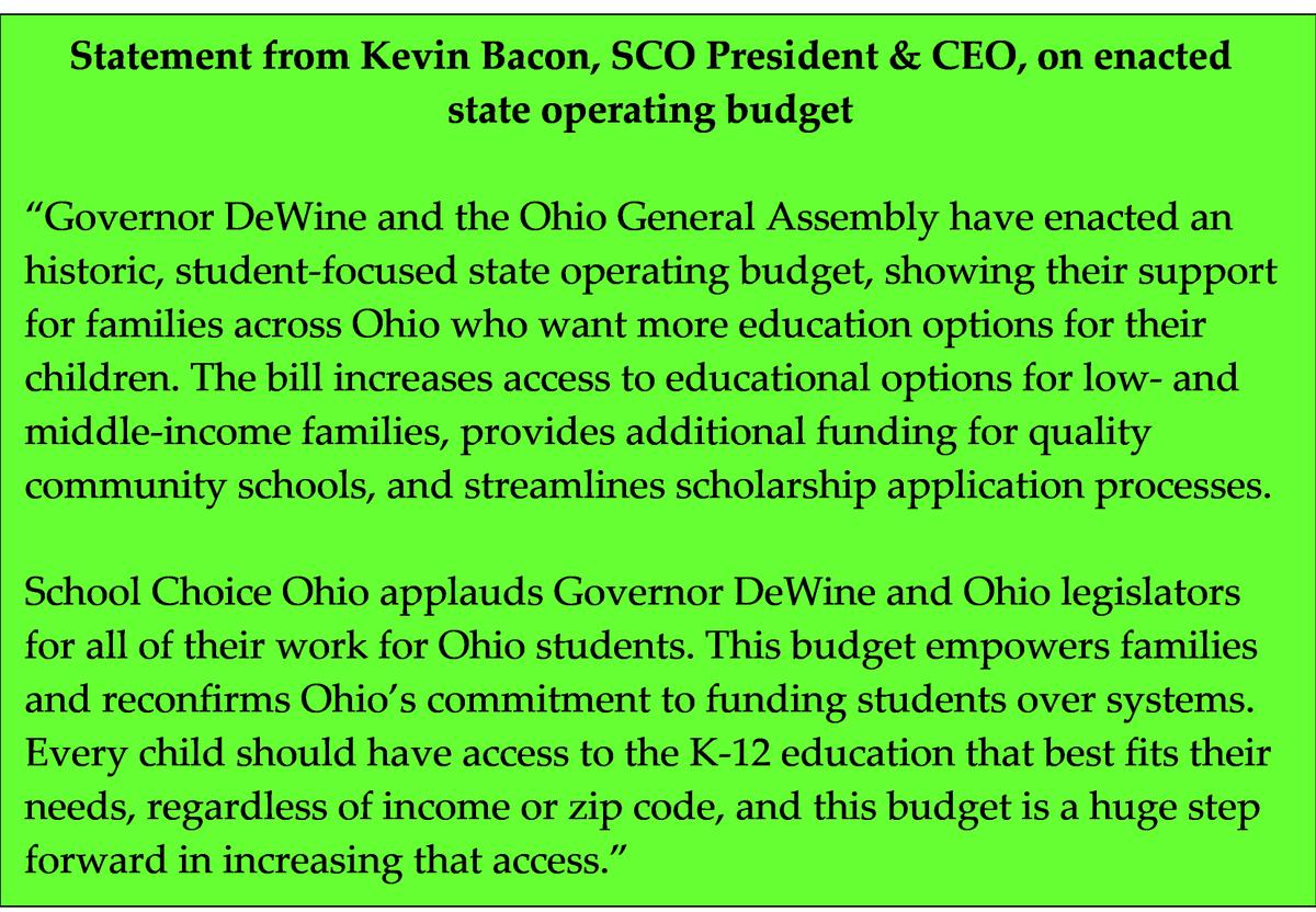 Thank you, Ohio legislators and Governor DeWine, for enacting a budget to #supportstudents! #ohbudget #schoolchoice @GovMikeDeWine @LarryObhof @matthuffman1 @HouseholderOH @ElectMattDolan