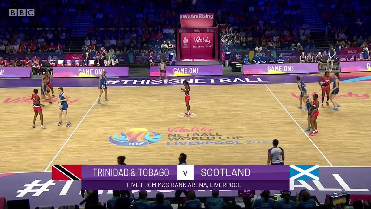 We're off!It's Trinidad & Tobago v Scotland at the Netball World Cup.Watch on @BBCTwo & @BBCSport ➡http://bbc.in/32BCejc #bbcnetball #ChangeTheGame