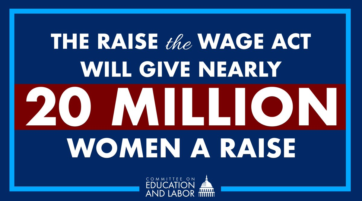 Nearly a third of working women would receive a raise under the #RaiseTheWage Act. We can't pass up this opportunity to help eliminate the wage gap by raising the federal minimum wage!<br>http://pic.twitter.com/yrfuCeprWG