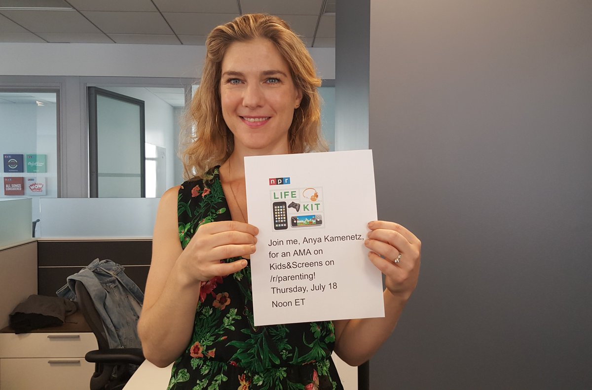 """HAPPENING TODAY! Bring your questions about kids and screens to a #RedditAMA with @NPRLifeKit host @anya1anya, author of """"The Art of Screen Time."""" Post your questions here: https://n.pr/2XVfxmQ"""