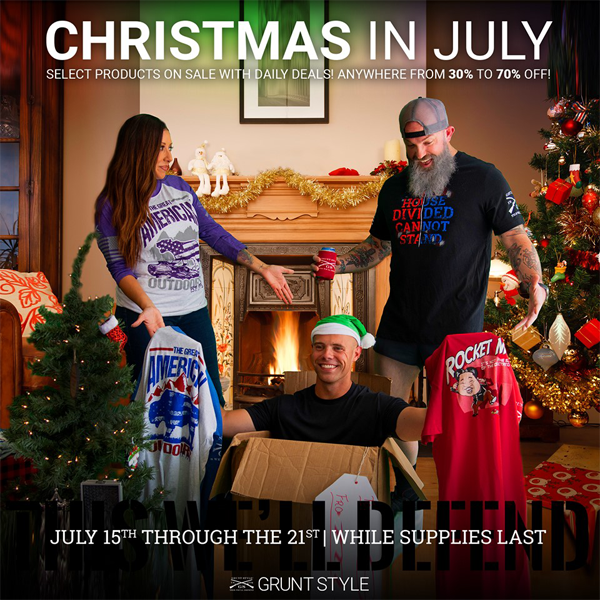 Christmas in July! Heck yeah! Check out the @GruntStyle deals going on through 7/21! 30-70% OFF! Are you kidding me! Check them out here > https://buff.ly/2Gi3VUV  #TopRatedMMA #BeardedBiz #VeteransBeforeRefugees #GruntStyle #America #USA #USAPride #Merica #American #Patriot
