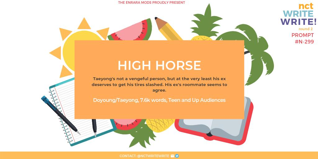 ROUND TWO, DAY 3 ⊱ high horse —doyoung/taeyong —7.6k words  read it here:  https:// archiveofourown.org/works/19800763    <br>http://pic.twitter.com/GmYjj8h8q9