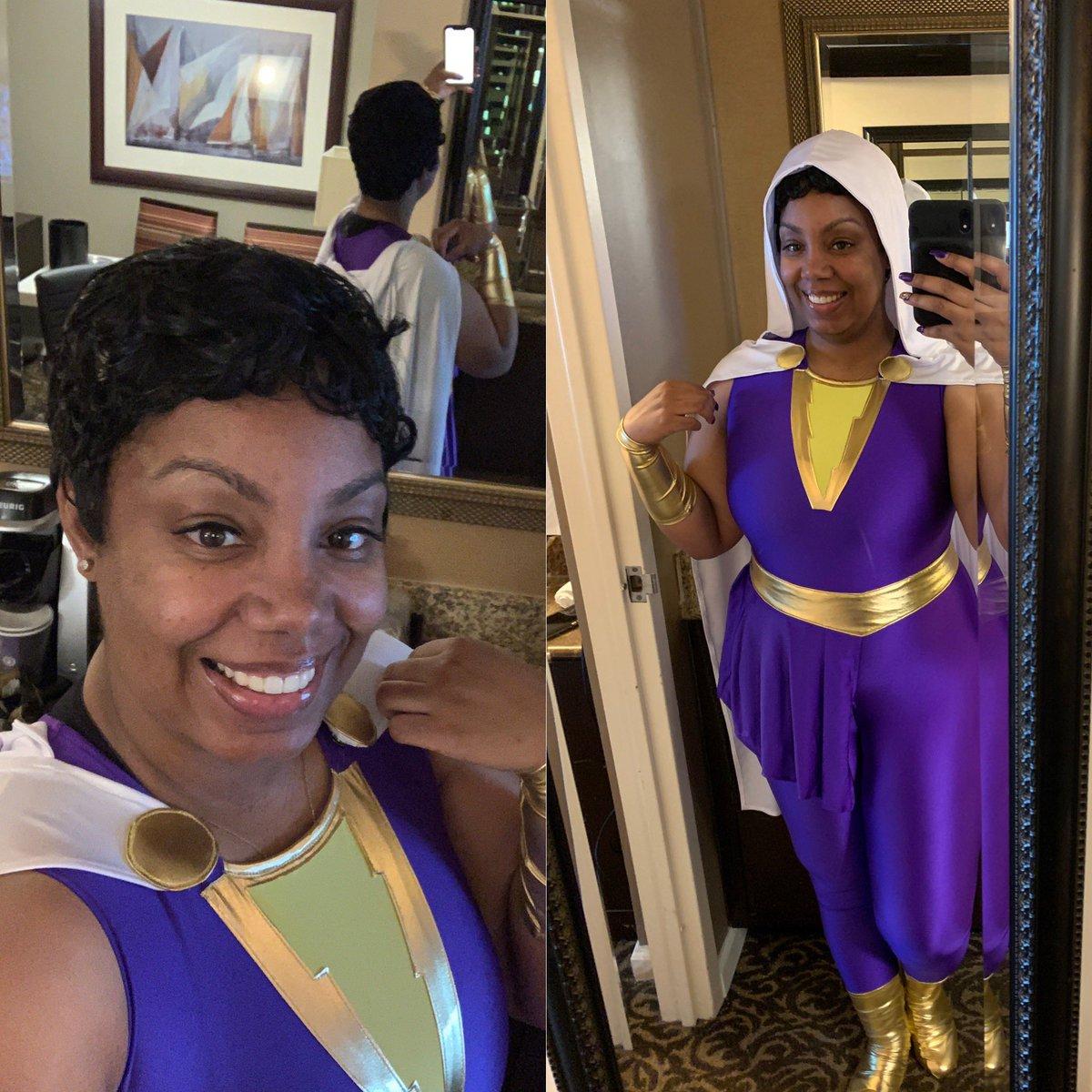 SHAZAM!!! Comic-Con day 1 Darla Dudley #Shazam #ShazamFamily  . . . #SSCC2019 #SSCC19 #SDCC50 #SDCC #BlackCosplayer #BlackWomenInCostume #CosplayerGirl #BlackCosplay #Blerd #BlackGirlMagic #BlackNerd #BlackWomenSmile #BlackCosplayersRock