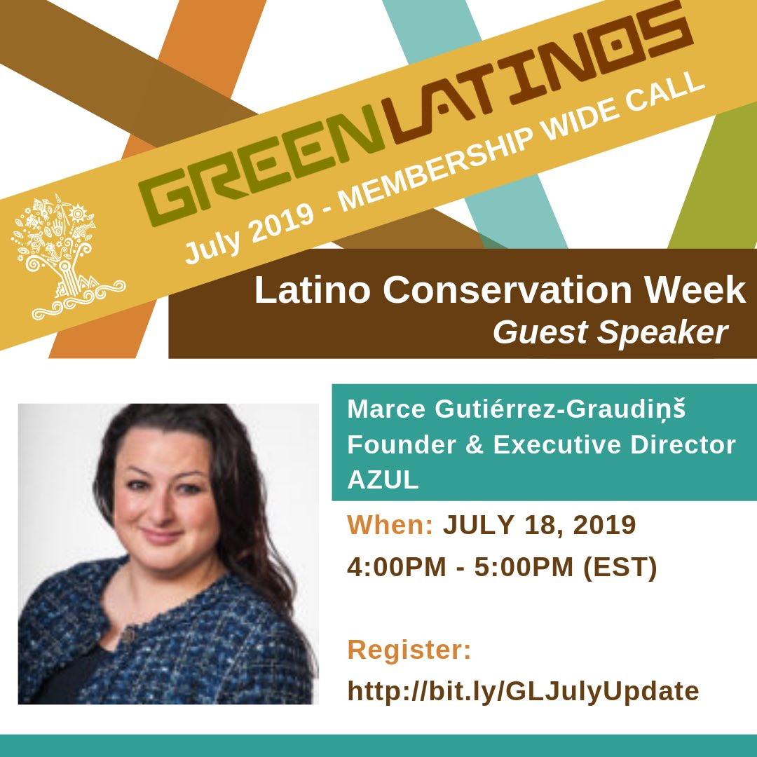#LatinoConservationWeek Continues! Join us for a Webinar Today at 4:00PM EST hear from Marce Gutiérrez-Graudiņš @Azuldotorg who will share about the growing power of Latino communities to protect our oceans #Latinosmarinos #LCW2019 #oceans Register Here: http://bit.ly/GLJulyUpdate
