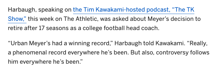 Harbaugh on Urban Meyer.  He's not wrong.