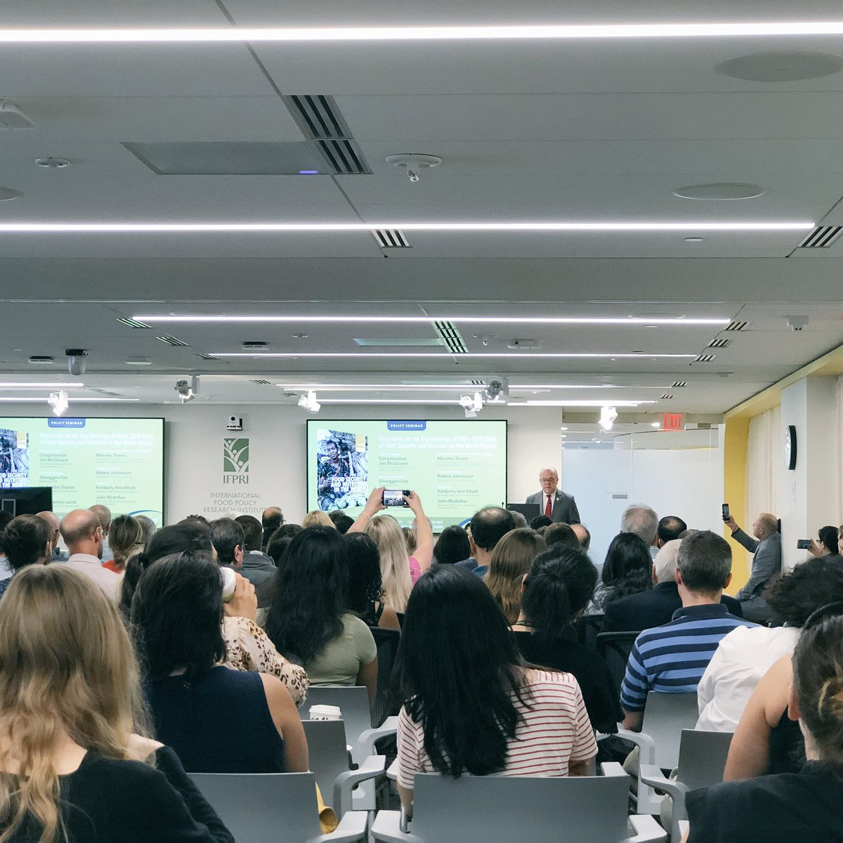 """Full house here at @IFPRI for hunger fighting champion @RepMcGovern talking #SOFI2019:  """"Some news reports have called hunger trends 'stable'. But the only thing stable in people's lives is their suffering.""""  Read here: http://www.fao.org/3/ca5162en/ca5162en.pdf…"""