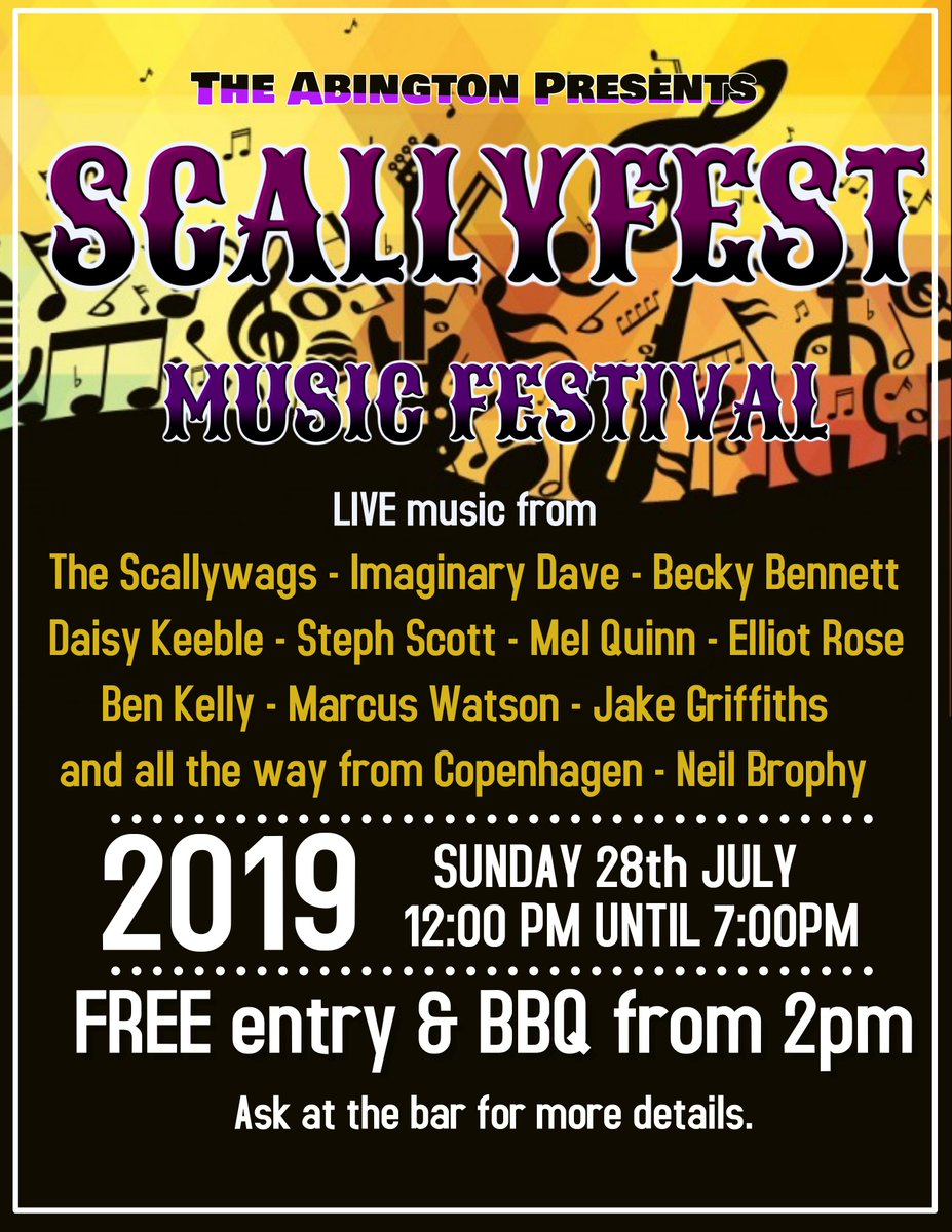 SCALLYFEST - Sunday 28th - 12-7pm loads of great LIVE music all day - FREE entry and BBQ from 2pm......!!!