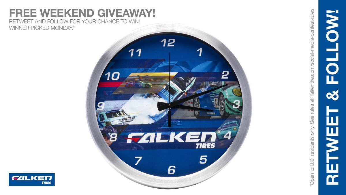 If you're gonna watch a clock tick, at least #Win this #Free Falken weekend #giveaway! RT & follow #FalkenTire to enter for this #contest #prize or other #swag! Rules: http://bit.ly/2grA0A4