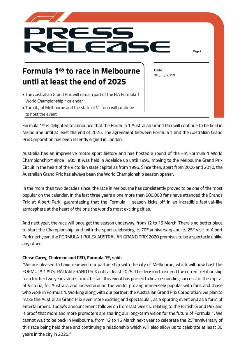 Press release - Formula 1® to race in Melbourne until at least the end of 2025 #F1 #AustralianGP #Melbourne