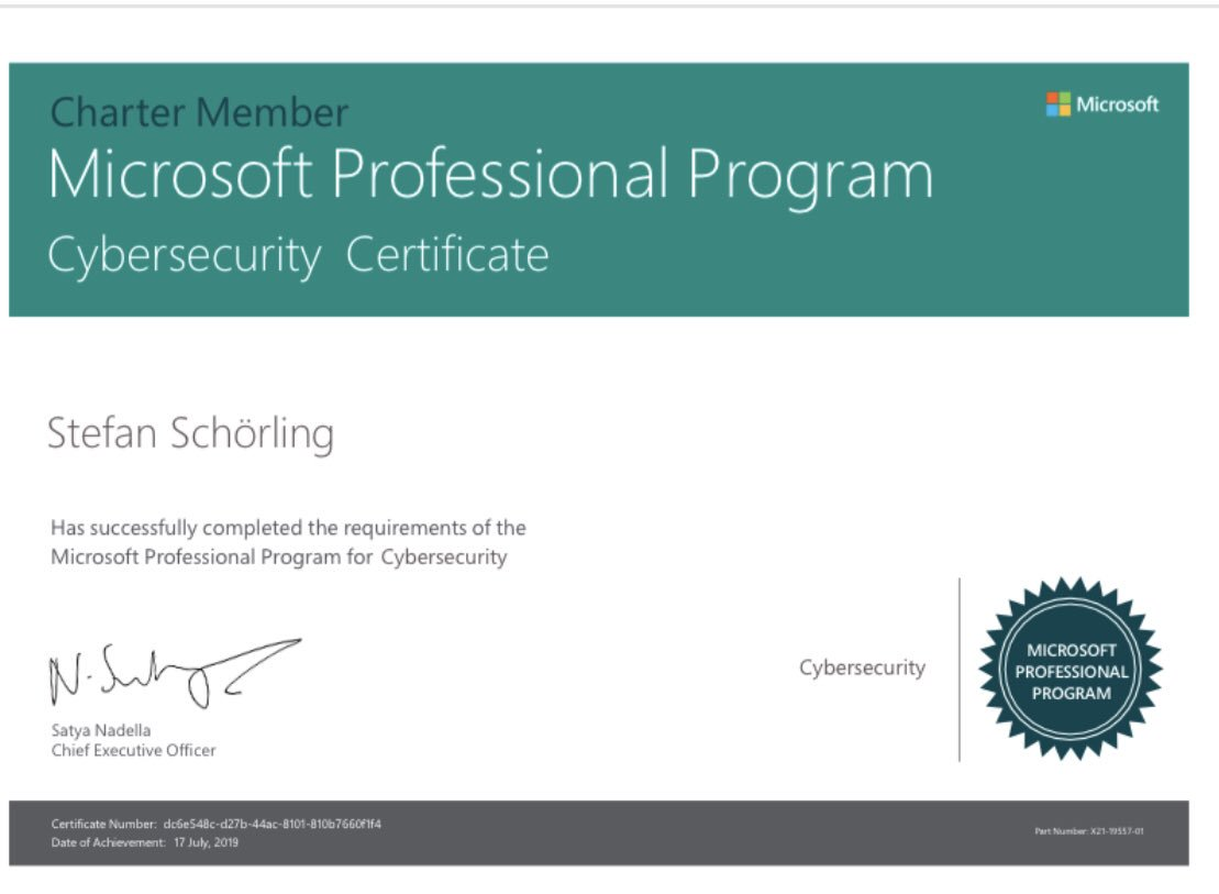 After some techical issues my Certificate is finally issued! Microsoft Professional Program: Cybersecurity! Always keep learning! #security #certification #mdatp #o365 #w10 #azure #microsoft https://academy.microsoft.com/en-us/professional-program/tracks/cyber-security/…