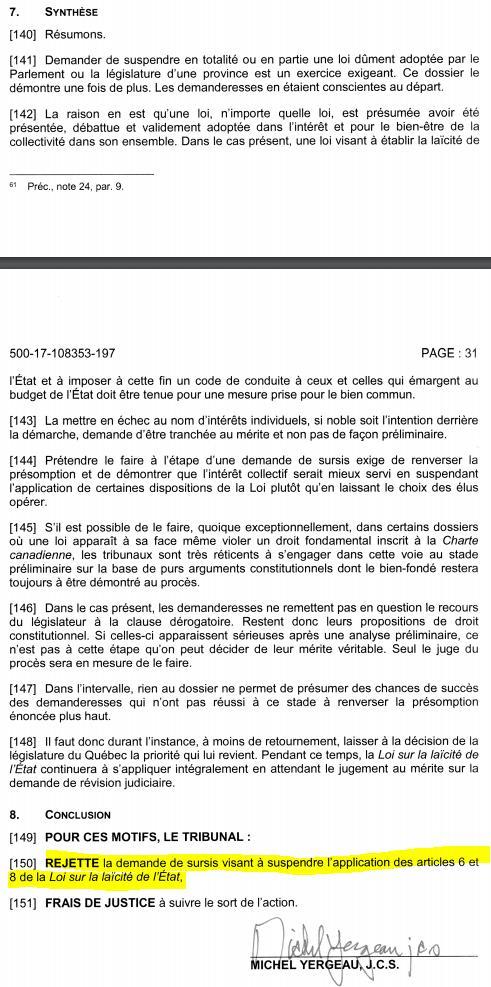 La loi sur la laïcité passe son premier test devant les tribunaux. La demande d'injonction d'une étudiante en enseignement vient d'être rejetée par la Cour supérieure du Québec. #polqc