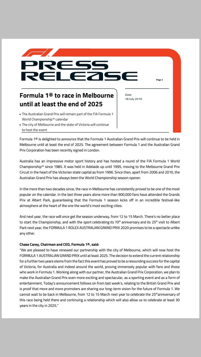 #F1 in #Melbourne until at least the end of 2025 #F1pl #ElevenF1