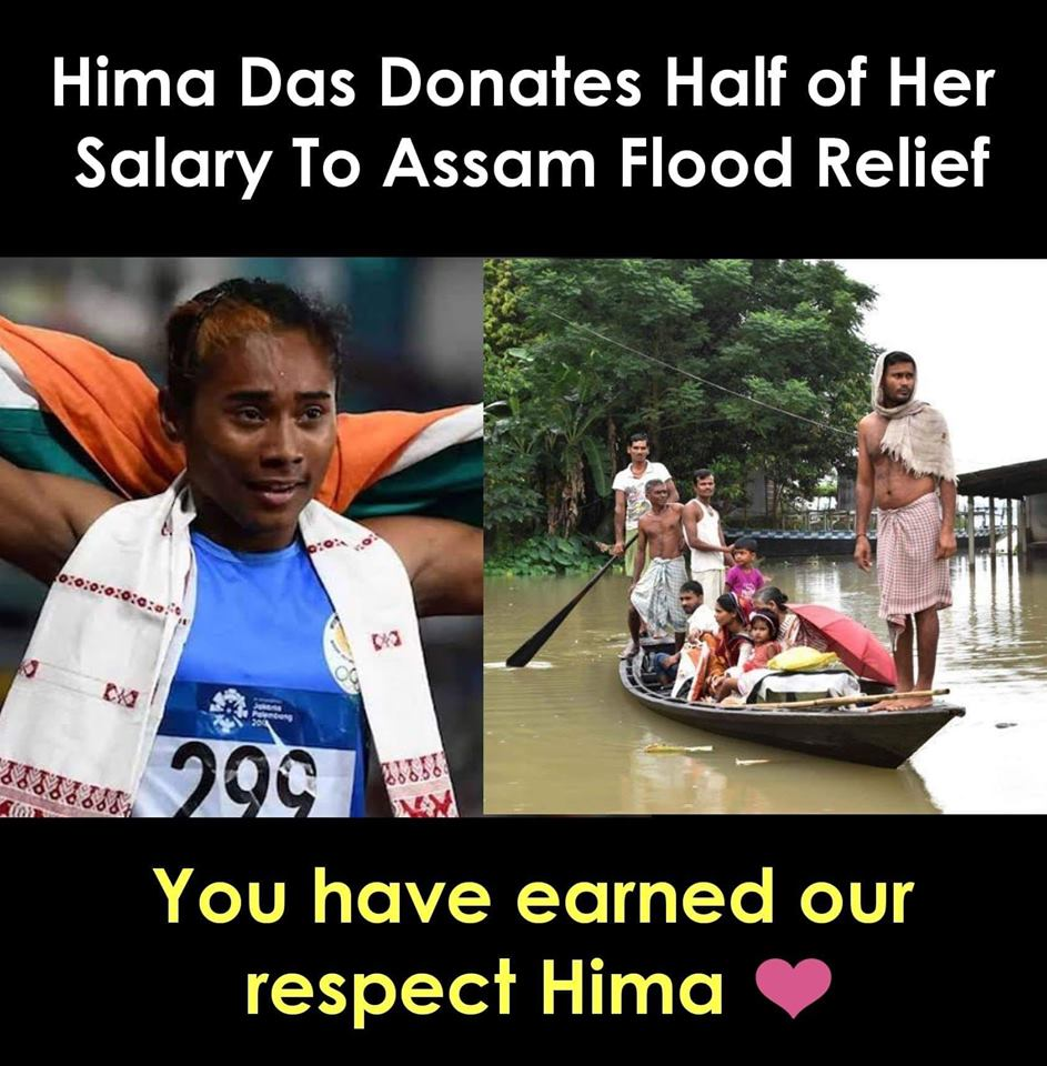 4 Gold medals in last 15 Days ! Donated half of the income for #AssamFloods relief What a legend youre @HimaDas8 #Salute #InspiringKindIndian #HimaDas #ThursdayMotivation