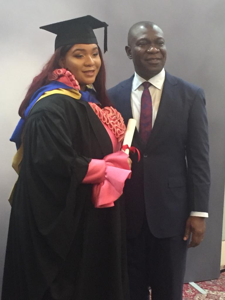Please, join me in  congratulating my darling daughter, Sonia Chinonso Ekweremadu, BA Media and Communications, on her graduation.  Well done, girl. Proud of you. I celebrate you.