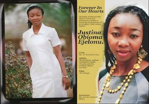 This is Late Nurse Justina Obioma Ejelonu, her first week at work she had to fight Ebola and died in the process, up till today the country she gave up her life to protect has not honoured her for the role she played.  Even in death, I celebrate you today Justina. RIP heroine