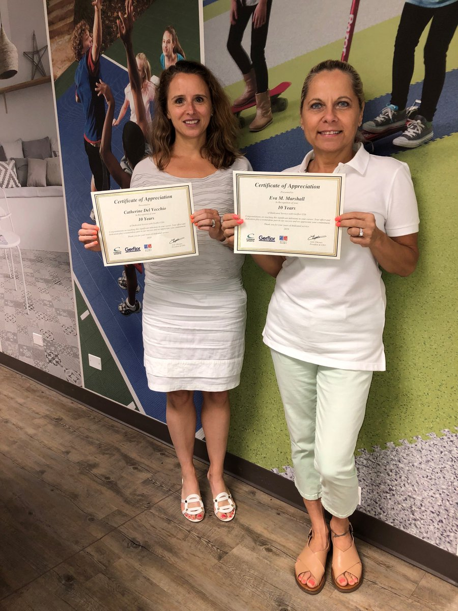 Congratulations to Gerflor USA Director of Marketing Catherine Del Vecchio and Executive Assistant Eva Marshall for receiving their ten-year certificates! Our team members' hard work and dedication play a tremendous role in our success and we appreciate their years of commitment. https://t.co/GPXpWU6et9