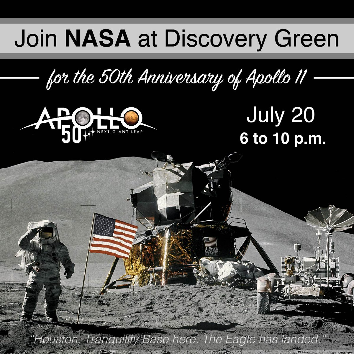 TOMORROW, July 20: Houston, celebrate #Apollo11 with us at @DiscoveryGreen! 🚀 Visit our Driven to Explore trailer, participate in @NASASTEM activities & more. Later, watch Apollo 11 & count down to the first step on the Moon 50 years ago. discoverygreen.com/moonlanding #Apollo50th