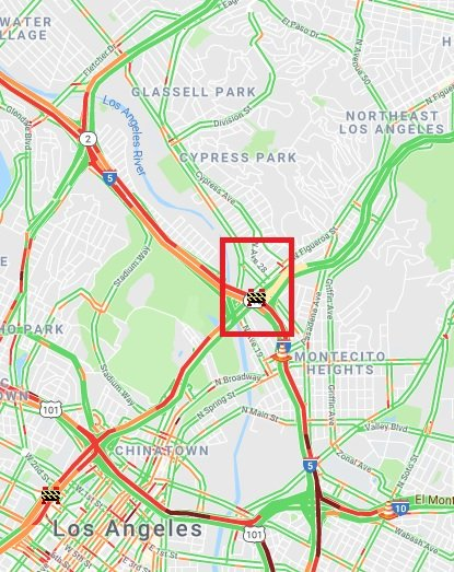 Also, Northbound I-5 from Pasadena Ave. to SR-110 right lane closed until 2pm for this repair.