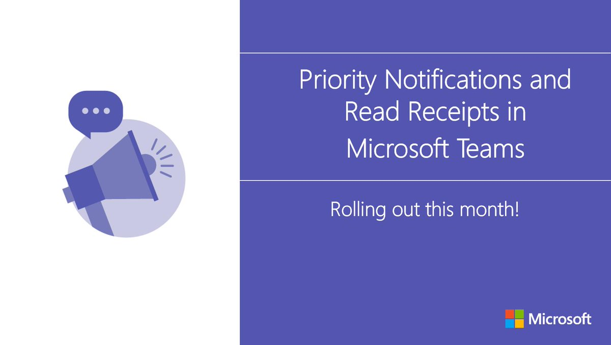 Two new features in #MicrosoftTeams will ensure that important messages get through! Priority notifications and read receipts are rolling out this month. http://msft.social/6gmO2B