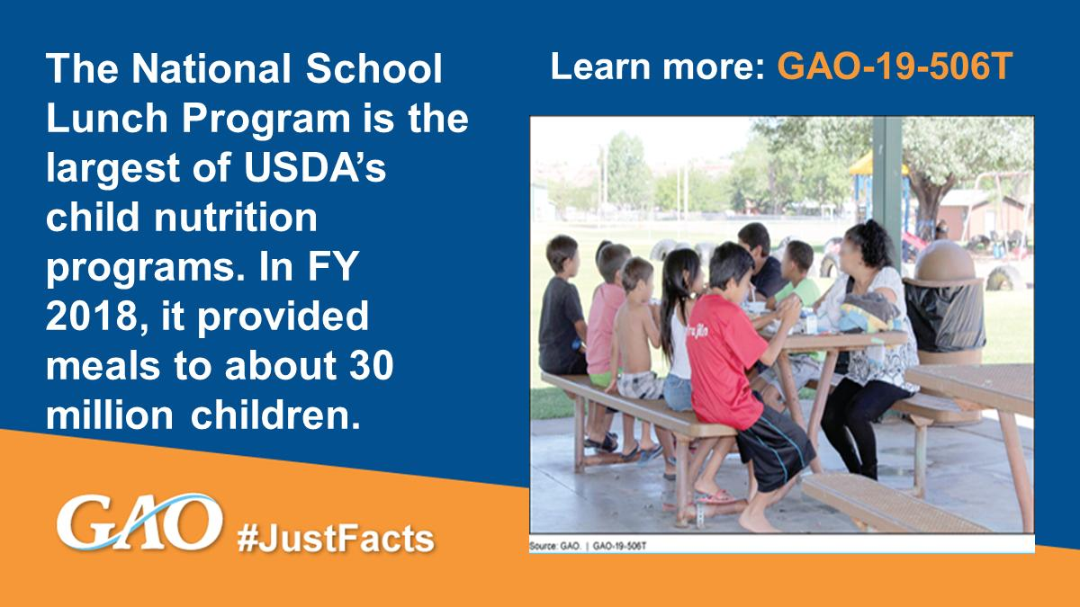 The U.S. government provided about $30 billion for @USDA's #childnutrition programs in FY 2018, including about $14 billion for the National #SchoolLunch Program. https://www.gao.gov/products/GAO-19-506T?utm_source=twitter&utm_medium=social&utm_campaign=facts… #JustFacts #NSLP