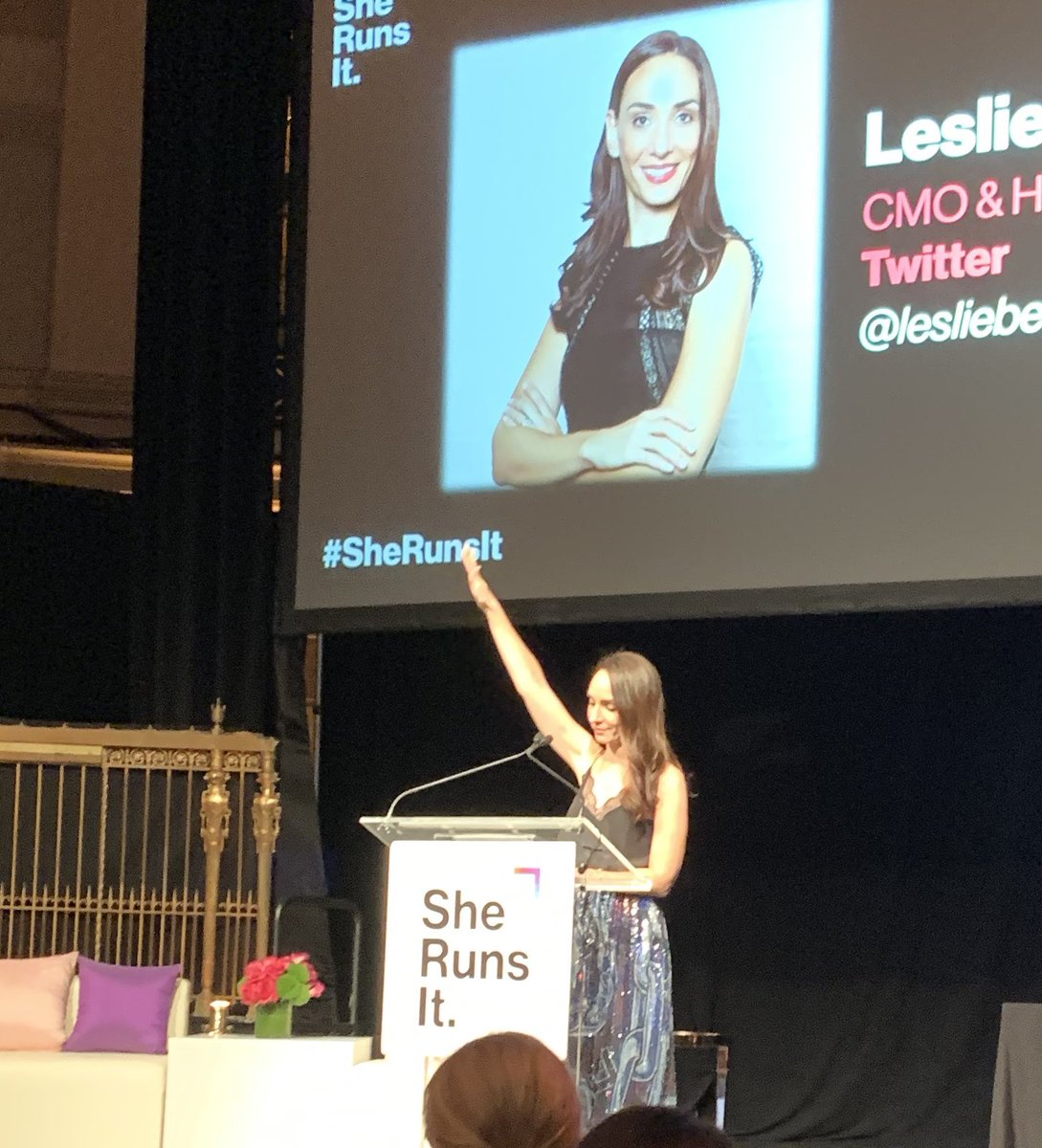 "Raise your hand if you just received The ""Woman of the Year"" at the #SheRunsIt annual gala.    Congrats to my dear friend and a truly beautiful, strong leader.  ❤️#LoveWhereYouWork"