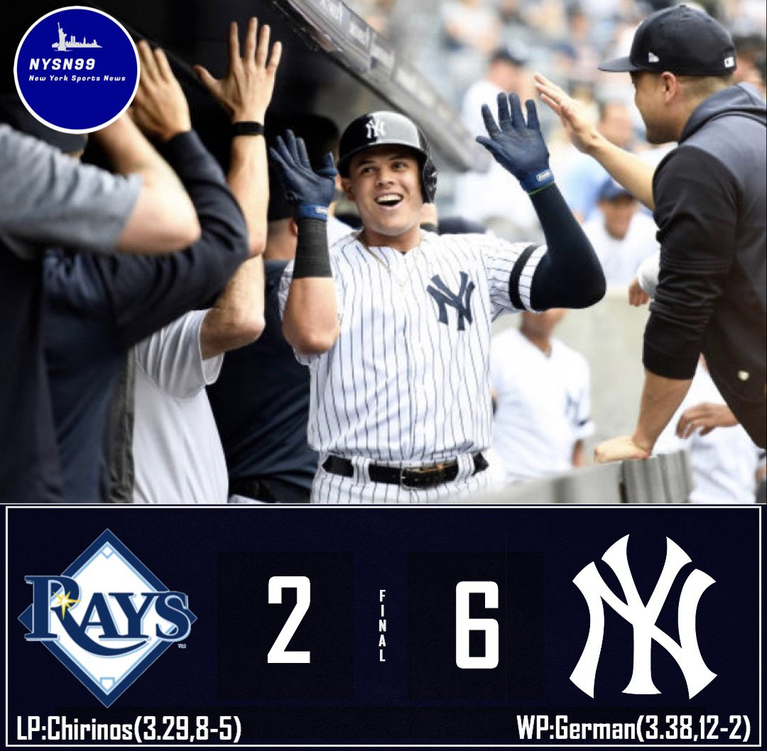 The Yankees defeat the Rays 6 to 2! #yankees #YankeesTwitter