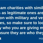 Image for the Tweet beginning: A8: Scam charities with similar