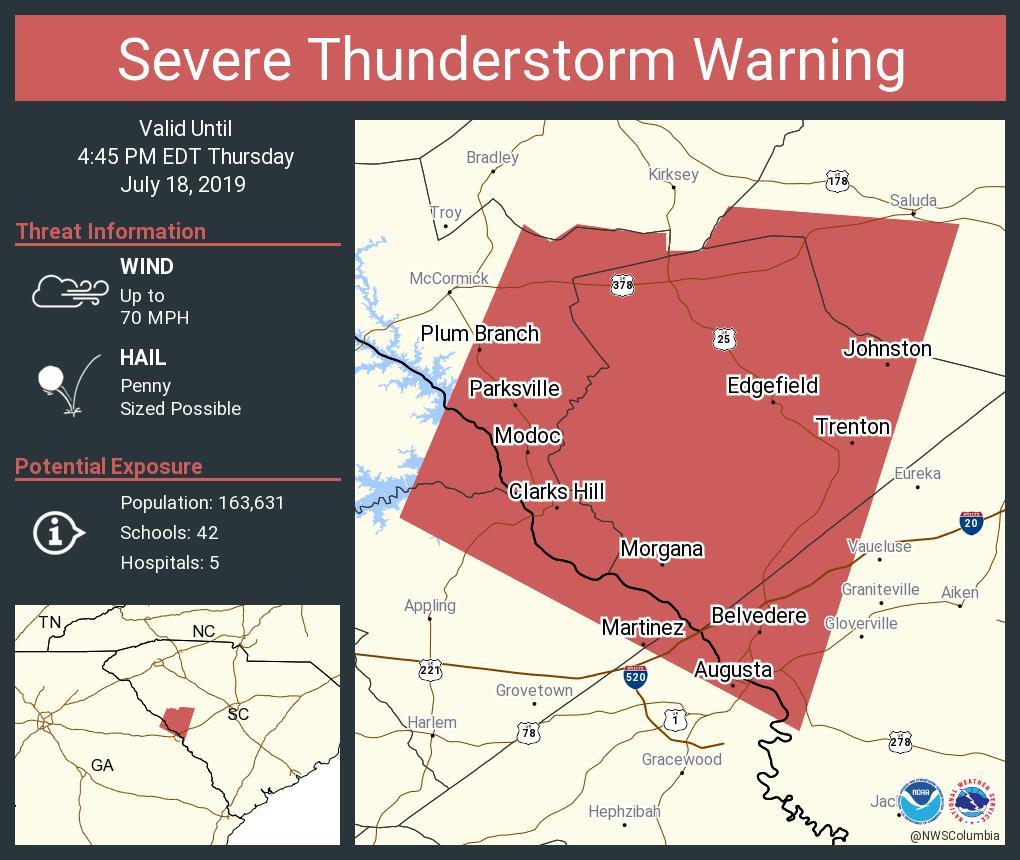 WEATHER ALERT: Severe Thunderstorm Warning including Martinez GA, North Augusta SC, Belvedere SC until 4:45 PM EDT https://t.co/5ayCZydc9y
