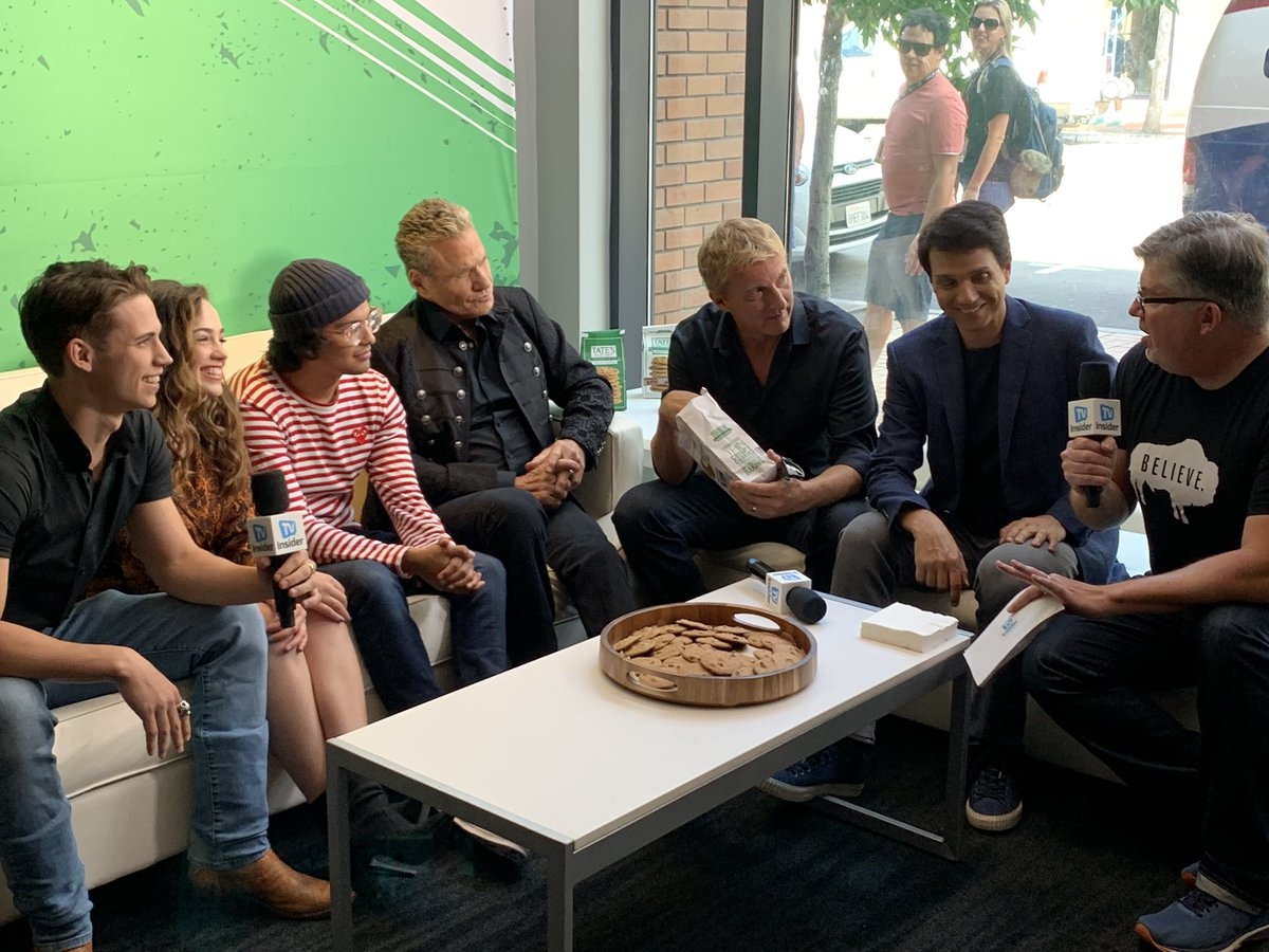 We think @WilliamZabka has the right interview idea! 🍪 The cast of @cobrakaiseries swung by the @tvinsider video suite at #SDCC earlier to chat about the next moves on the popular streaming series! Special thanks to our suite sponsor @tatesbakeshop. #tatesbakeshop #tatesobsessed
