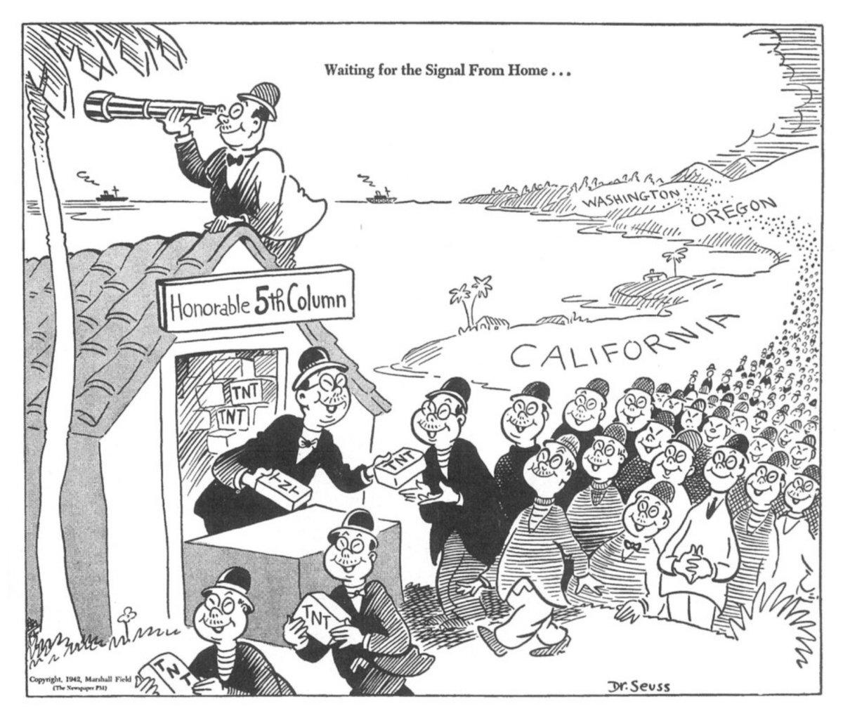 "Simon Kuestenmacher on Twitter: ""1942 cartoon by Dr. Seuss about ..."