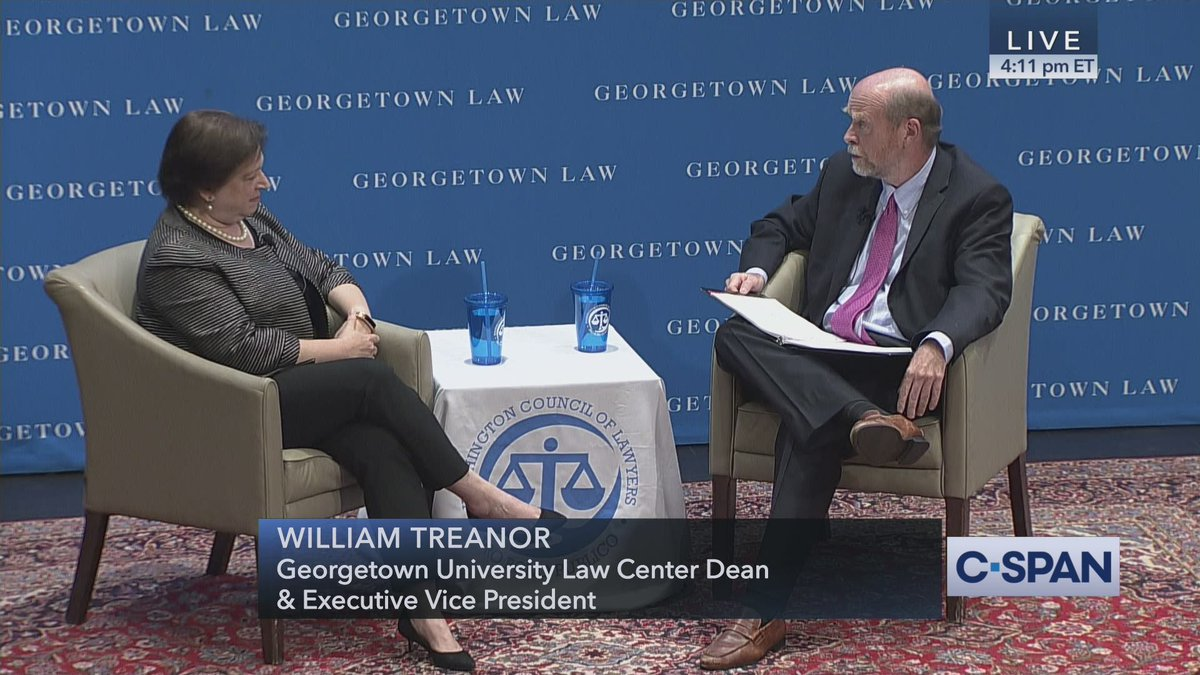 Conversation with Justice Elena Kagan,  @georgetownlaw  hosts – LIVE on C-SPAN https://cs.pn/2XP46Sz