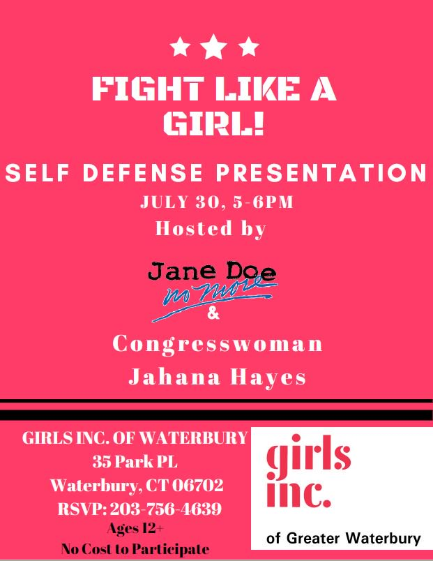 Hi everyone it's Maggie! For my capstone project Congresswoman Hayes will be co-hosting a Self Defense Presentation with Jane Doe No More at @GIRLSINCWCT in Waterbury. <br>http://pic.twitter.com/urgnMIOvkK