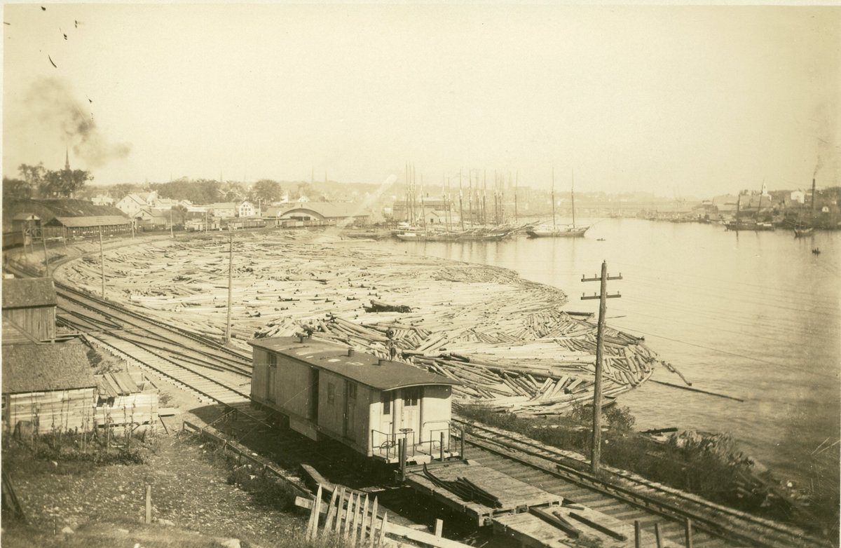 The Bangor waterfront has changed some since this photograph (circa 1880) featuring a railroad car alongside logs and ships floating in the river. #tbt #ThrowbackThursday #Maine