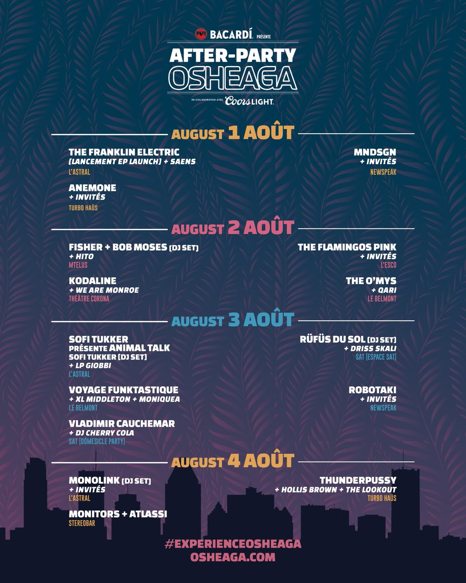 The Osheaga after-parties lineup