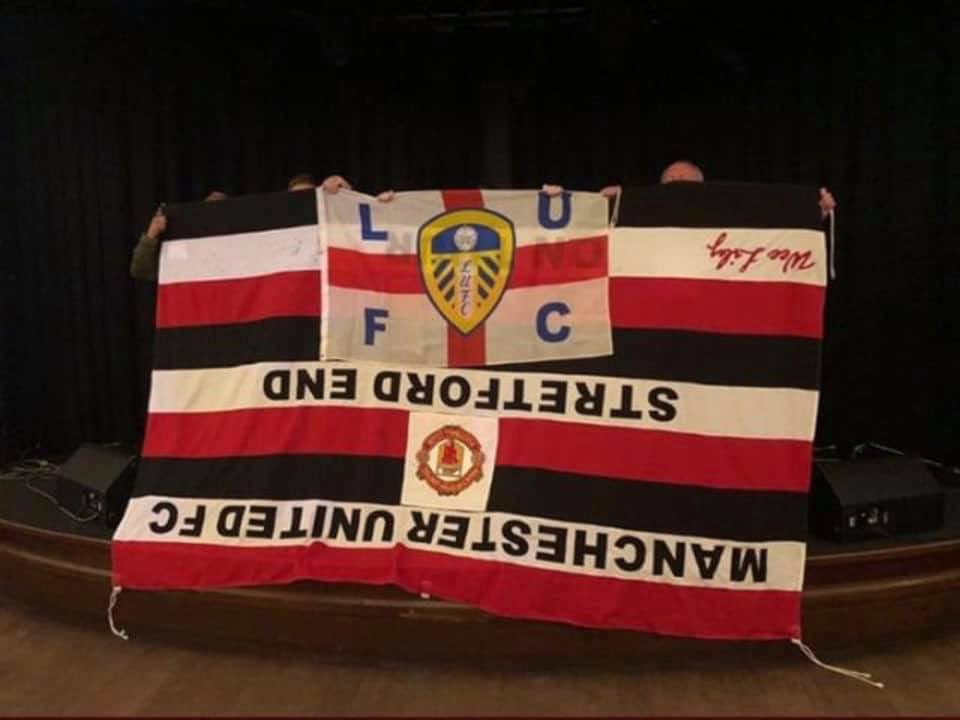 The Away Fans On Twitter Leeds Fans With Stolen Man Utd Flag In Perth Lufc Mufc