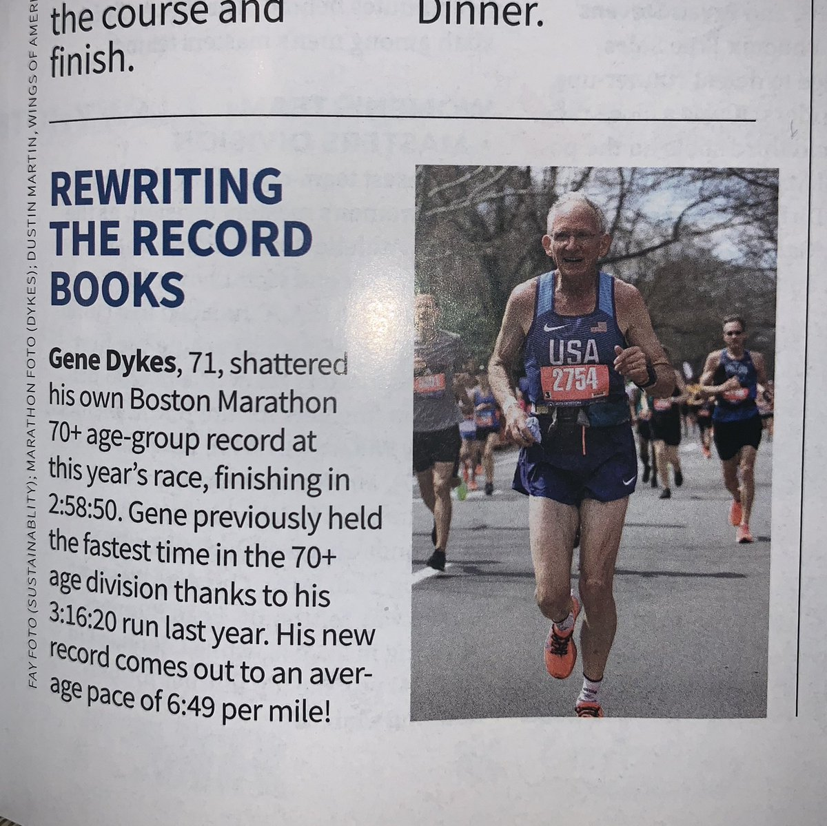 Spotted  the #UltraGeezer highlighted in this year's Racers' Record Book for setting a new age group record during the 123rd Boston Marathon! Go @TheUltraGeezer!!<br>http://pic.twitter.com/DXtNaBdTsr
