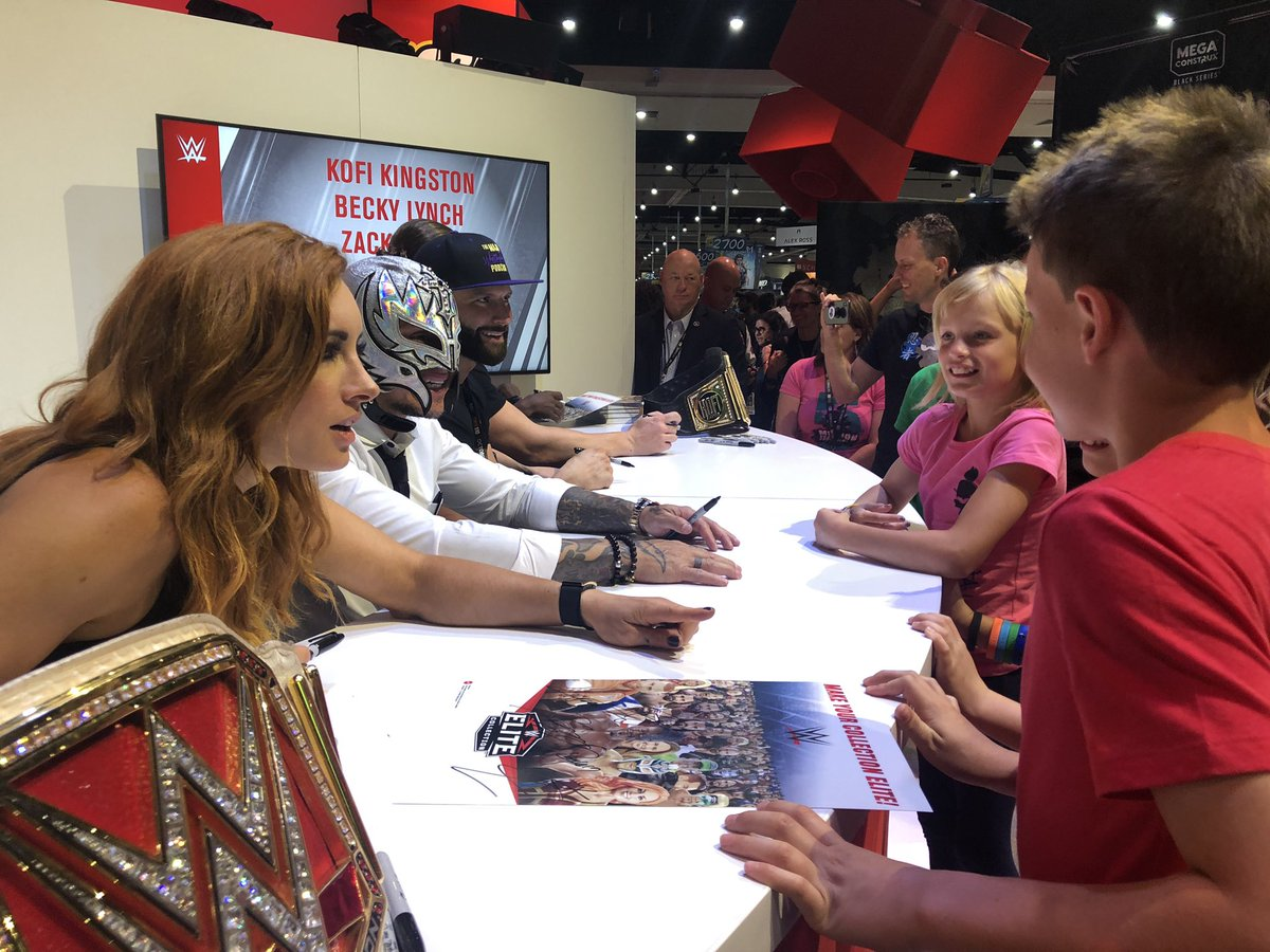 .@BeckyLynchWWE, @reymysterio, @TrueKofi, @ZackRyder and @TheCurtHawkins hit the #SDCC floor to meet #WWE fans at the @mattel booth!