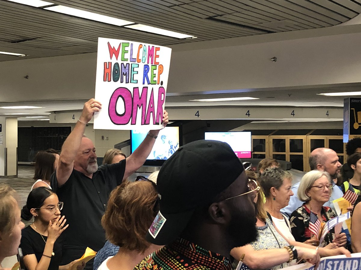 A large crowd of supporters waiting to greet Minnesota Congresswoman Ilhan Omar At Mpls-St. Paul International airport in the midst of feud with President Trump. Live reports at 5 and 6 on 5 Eyewitness News.